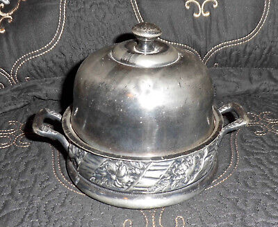 Antique Victorian BUTTER CHILLER DISH Top Silverplate early 1900 dome lid handle
