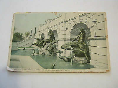 Neptune's Fountain, Library Of Congress Postcard, early 1900's (GS19)