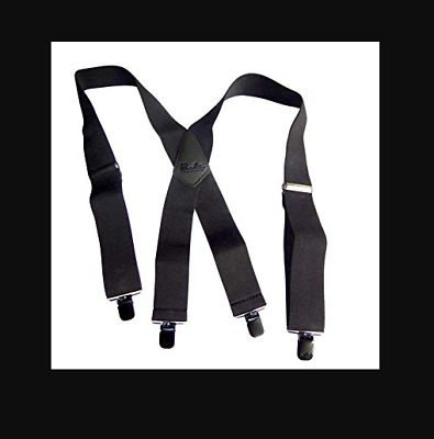New CTM Men/'s Terry Casual Elastic with Anti Slip Pin Clip 2 Inch Suspenders