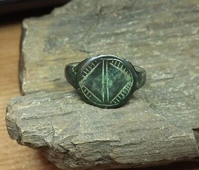 Perfect Old Antique bronze Medieval Ring with  Engraved   US-8  #2782