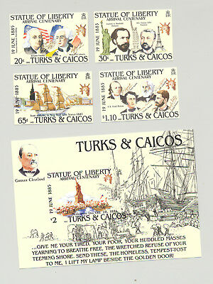 Turks & Caicos #661-665 Statue of Liberty 4v & 1v S/S Imperf Proofs