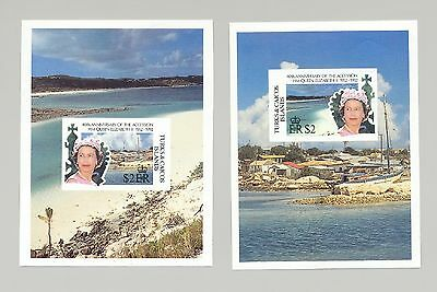 Turks & Caicos 1992 Queen Elizabeth 40th Anniversary 2v Imperf Proof S/S