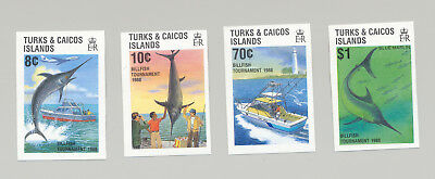 Turks & Caicos #752-755 Fish, Fishing, Lighthouse 4v Imperf Proofs