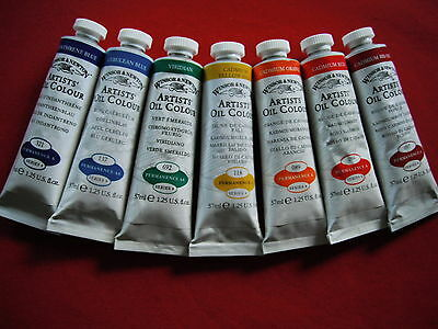 Seven (7) 'Series 4' Winsor & Newton 37ml Oil Paints, New / never opened