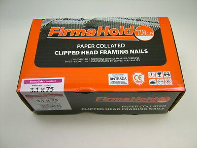 1st fix collated nails 75mm x3.1 box 1100 galvanised Firmahold brand fit Paslode