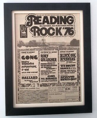 GONG*RORY GALLAGHER*Reading Fest*1976*ORIGINAL*POSTER*AD*FRAMED* FAST WORLD SHIP