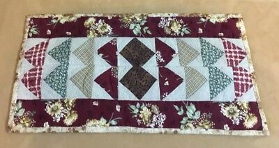 Patchwork Mini Quilt Table Pad, Flying Geese, Triangles, Floral Calicos, Checks