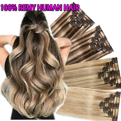 """Clip In Remy Human Hair Extensions Full Head CLEARANCE Long Weft Straight 22"""" L7"""