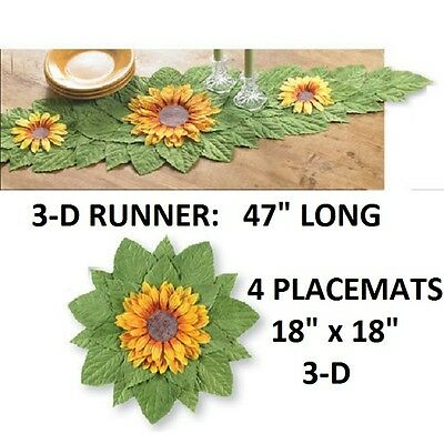 """3-D YELLOW SUNFLOWER DINING TABLE RUNNER 47"""" NEW Deluxe Gorgeous!"""