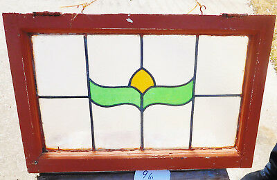 27x18 Old Vtg Art Nouveau Leaded Antique Stained Glass Window Gold Green Hardwar