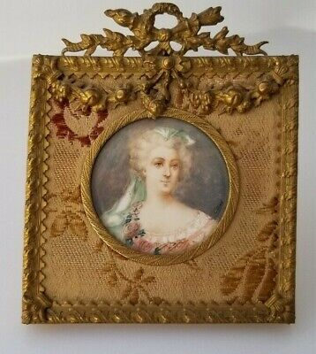 Antique Portrait Miniature In French Gilt Gold Bronze Dore Frame Signed