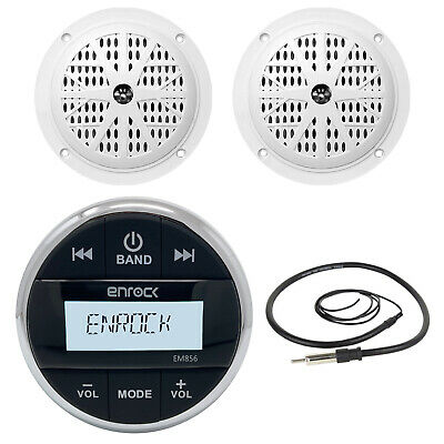 "Marine Bluetooth Round AUX Mp3 Receiver, 4"" White Marine 100W Speakers & Antenna"