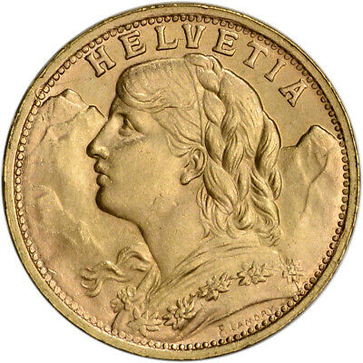 Swiss Gold 20 Francs (.1867 oz) - Helvetia - XF - AU - Post 1933 - Random Date