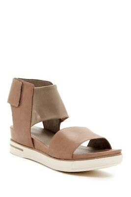 7c984d33867 EILEEN FISHER Spree Sport Quartz Tan Leather Stretch Mesh Ankle Strap Sandal  10