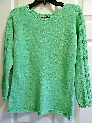 RACHEL ZOE BRIGHT Gree Knit Long Sleeve Cotton Blend Sweater