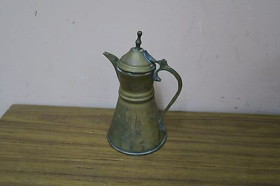 Vintage Etched Pyramids Copper Dallah Coffee Tea Pot Egyptian Middle Eastern