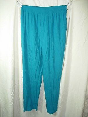 Womens Turquoise Blue Alfred Dunner Elastic Waist Pants Size 14P 28-42X27
