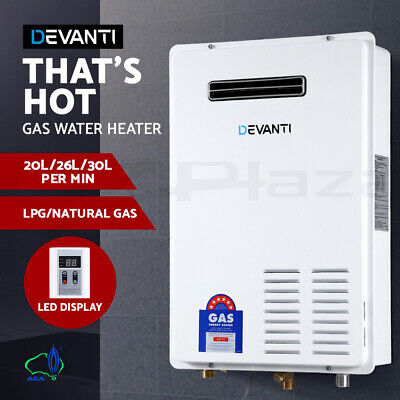 DEVANTI Gas Water Heater 26L 30L Home Instant Hot Outdoor LPG NG Natural Gas