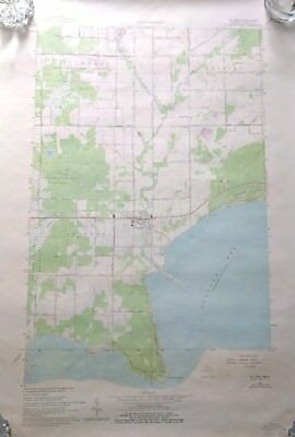 "1966 MICHIGAN Geological Survey Topographic Map 22"" x 27"" Augres Michigan"