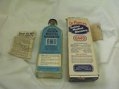 Vtg Medicine Bottle Dr. Pierce's Golden Medical Discovery GMD w box & instr.
