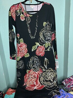 c4c90ce2ae0 Brand New With Tags Lularoe Elegant Debbie Dress Size Small Black W  Roses  NWT
