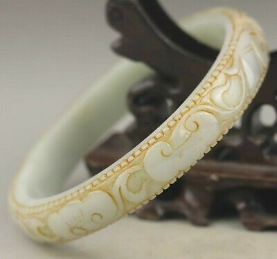 Old China natural jadite bangle intaglio hand carved jade flower Bracelet 80mm