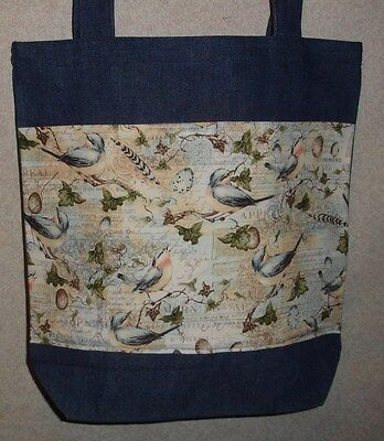 NEW Handmade Large Bluebirds Flowers Bird Feather Garden Shopping Denim Tote Bag
