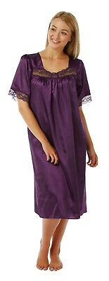 Ladies Charmeuse Satin Lace Nightdress SECONDS 6 Colours Size 8 - 12