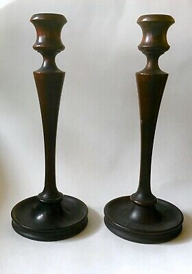 Sea Captain's Antique American Mahogany Candlesticks, W A Bates Turning Co, Mich