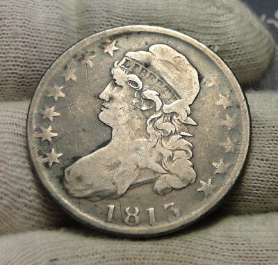 1813 Capped Bust Half Dollar 50 Cents - Nice Coin, Free Shipping (7799)