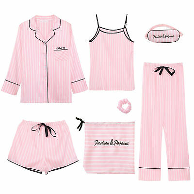 Satin Pyjamas Candy Stripe Ladies Womens Pink PJs Silk Sleepwear Summer Homewear