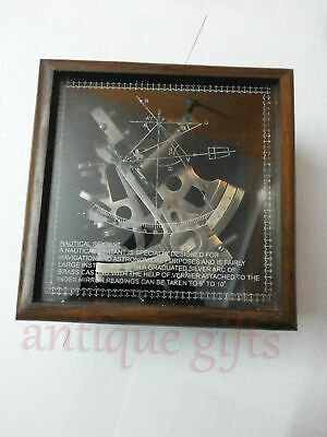 Nautical Sextant & Wooden Box Marine Collectible Handmade Brass German Astrolabe