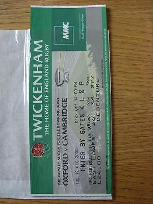 12/12/2000 Ticket: Rugby Union, Oxford v Cambridge [At Twickenham] Varsity Match