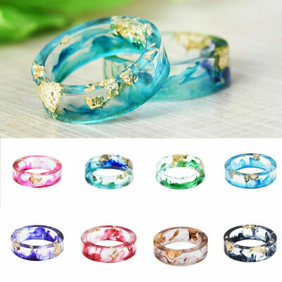 DIY Fashion Dried Flower Transparent Resin Rings Women Note Wedding Ring Gifts
