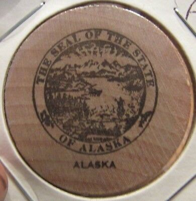 Vintage The Seal of the State of Alaska Wooden Nickel - Token AK