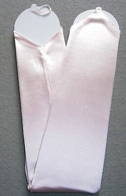 NEW! X-Long LIGHT PINK Satin FINGERLESS Nylon GLOVES ~ One Size ~ 18""