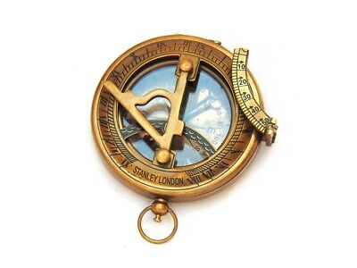 Trendy Look Nautical Antique Brass Marine Stanley London Pocket Sundial Compass