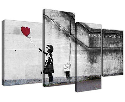 Framed 4 Pcs Wall Art, Balloon Girl BANKSY Street  Canvas Art