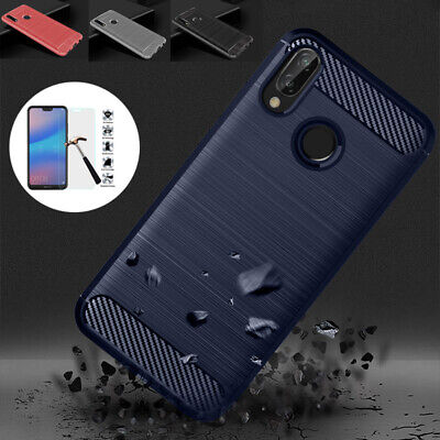 Carbon Fiber Texture Cover Case + Tempered Glass for Huawei P20 Pro P8 Lite 2017