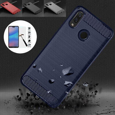 New Carbon Fiber TPU Cover Case + Tempered Glass for Huawei Y9 Y5 Y6 Prime 2018