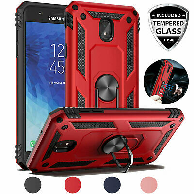 For Galaxy J3 Orbit/Star/V 2018 Magnetic Support Metal Ring Case+Tempered Glass