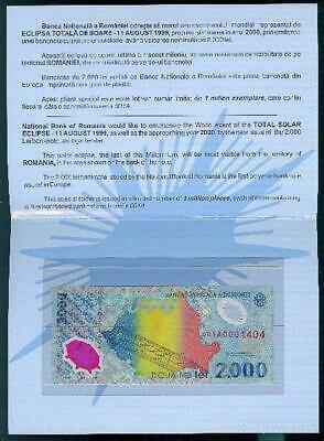 Romania 1999 2000 LEI Polymer Banknote in folder with low serial # - #R1 04