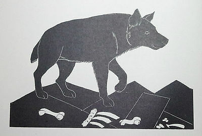 THE HYENA : Old B&W Art Deco Wild Animal Print of a 1920s Wood-cut By DAGLISH