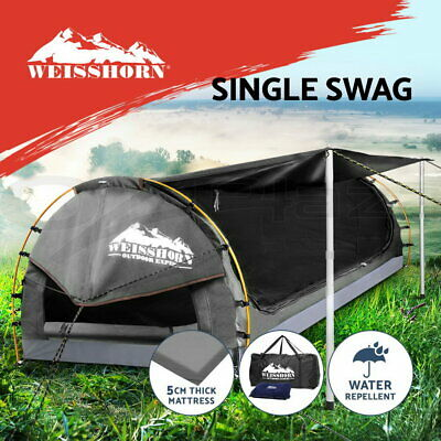 WEISSHORN King Single Camping Swags Canvas Free Standing Dome Tent Bag Grey