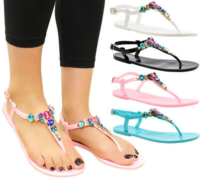 Ladies Summer Sandals Diamante Sliders Beach Flip Flop Womens Jelly Shoes Size