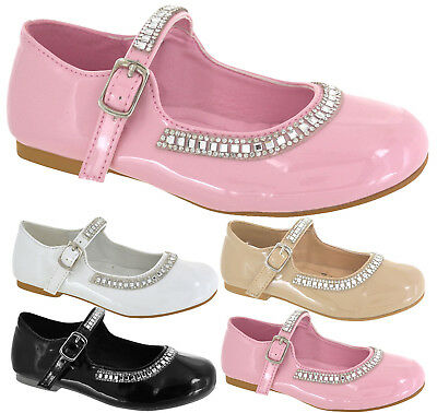 Kids Flats Heels Diamante  Mary Jane Pumps Strap Party Girls School Shoes Size