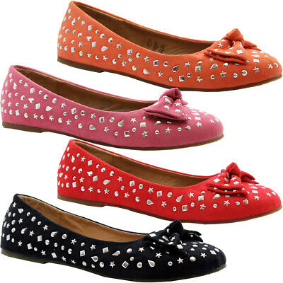 Girls Kids Party Glitters Bow Ballet Dolly Pumps Ballerina Shoes Mary Janes Size