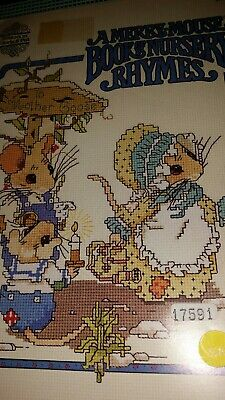 Vintage 80/'s Merry Mouse Book of Nursery Rhymes  cross stitch pattern