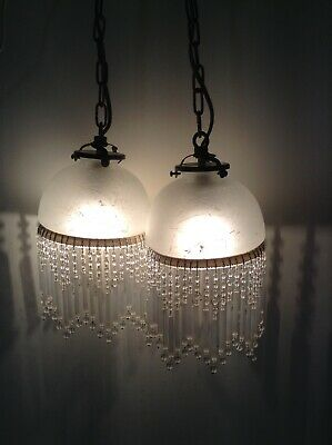 Pair Vintage French Glass Pendant Ceiling Lights with Beaded Droplets (2096)