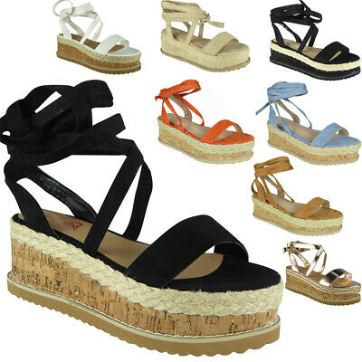 Womens Ladies Lace Up Tie Up Espadrilles Platform Shoes Wedge Sandals Size